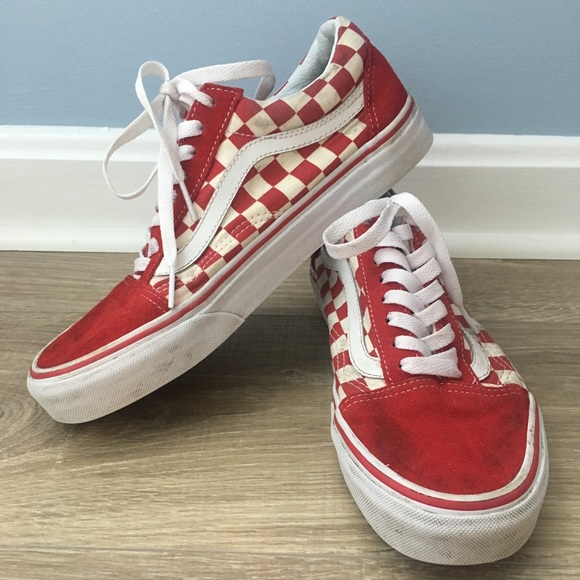 Vans Shoes Old Skool Red And White Checkered Poshmark